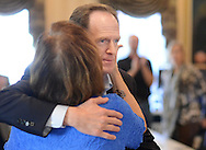 Senator Pat Toomery (R-Pa.) hugs Chairperson Pat Poprik  after meeting with supporters Monday, October 31, 2016 at Republican Committee Headquarters in Doylestown, Pennsylvania. (Photo by William Thomas Cain/Cain Images)