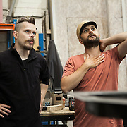 Director Lucien Mansell and designer Christoher Kelly inspect and discuss the production. Aurora is a giant polar bear puppet, the size of a London double decker bus. The bear is the brain child of Greenpeace UK and it will be the center piece in the Greenpeace campaign Save the Arctic  global day of action in London Sept 15th. Aurora is designed by Christopher Kelly in collaboration with props designer Simon Costin and made by Factory Settings in East London.