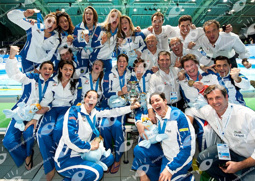 Eindhoven , Netherlands (NED) 16 - 29 January 2012.LEN European  Water Polo Championships 2012.Day 13 - Women.GRE (White) - ITA (Blue)..ITA.1 GIGLI Elena.2 ABBATE Simona.3 CASANOVA Elisa.4 AIELLO Rosaria.5 QUEIROLO Elisa.6 LAPI Allegra.7 di MARIO Tania.8 BIANCONI Roberta.9 EMMOLO Giulia Enrica.10 RAMBALDI GUIDASCI Giulia.11 COTTI Aleksandra.12 FRASSINETTI Teresa.13 GORLERO Giulia..Photo G.Scala/Deepbluemedia.eu