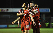 Shamir Fenelon celebrates his goal during the Sky Bet League 2 match between Crawley Town and Newport County at the Checkatrade.com Stadium, Crawley, England on 1 March 2016. Photo by Michael Hulf.