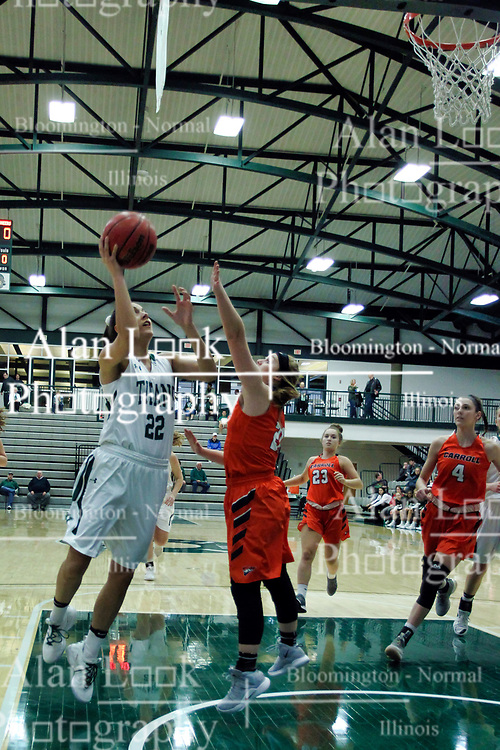 BLOOMINGTON, IL - December 15: Nina Anderson and Anna Kieltyka during a college women's basketball game between the IWU Titans  and the Carroll Pioneers on December 15 2018 at Shirk Center in Bloomington, IL. (Photo by Alan Look)