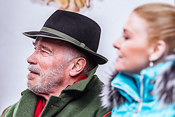 26.01.2019, Rasmushof Alm, Kitzbühel, AUT, FIS Weltcup Ski Alpin, Pressekonferenz, Arnold Schwarzenegger präsentiert eigenen Ski im Stil seines R20 Austrian World Summit, im Bild Arnold Schwarzenegger mit Freundin Heather Milligan // Arnold Schwarzenegger with Girlfriend Heather Milligan  during a press conference, Arnold Schwarzenegger presents own skis in the style of his R20 Austrian World Summit at the Rasmushof Alm in Kitzbühel, Austria on 2019/01/26. EXPA Pictures © 2019, PhotoCredit: EXPA/ JFK