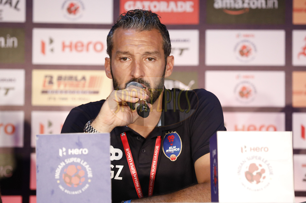 Delhi Dynamos FC coach Gianluca Zambrotta during press conference after the match 6 of the Indian Super League (ISL) season 3 between Chennaiyin FC and Delhi Dynamos FC held at the Jawaharlal Nehru Stadium in Chennai, India on the 6th October 2016.<br /> <br /> Photo by Arjun Singh / ISL/ SPORTZPICS
