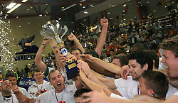 Celebration of Union Olimpija (left Marko Milic, right Saso Ozbolt) after fourth (last) final match of UPC Telemach league and Slovenian  National Championship  between KK Helios Domzale, Domzale and Union Olimpija, Ljubljana, Slovenia, on June 7, 2008, in Komunalni center hall in Domzale. Match was won by Union Olimpija 84:60 and Olimpija became National Champion 2007/2008 fourteen times in history of Slovenia. (Photo by Vid Ponikvar / Sportal Images)