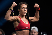 DALLAS, TX - MAY 12:  Joanna Jedrzejczyk poses on the scale during the UFC 211 weigh-in at the American Airlines Center on May 12, 2017 in Dallas, Texas. (Photo by Cooper Neill/Zuffa LLC/Zuffa LLC via Getty Images)  ***Local Caption***  Joanna Jedrzejczyk