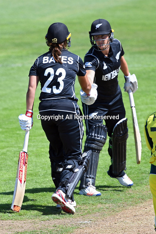 July 2nd 2017, The Brightside Ground, Bristol, England; ICC Womens World Cup; Australia Women versus New Zealand Women; Suzie Bates of New Zealand is congratulated by Sophie Devine of New Zealand on her 50 runs