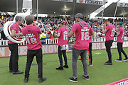 The band entertains the crowed before the final of the Vitality T20 Finals Day 2018 match between Worcestershire rapids and Sussex Sharks at Edgbaston, Birmingham, United Kingdom on 15 September 2018.