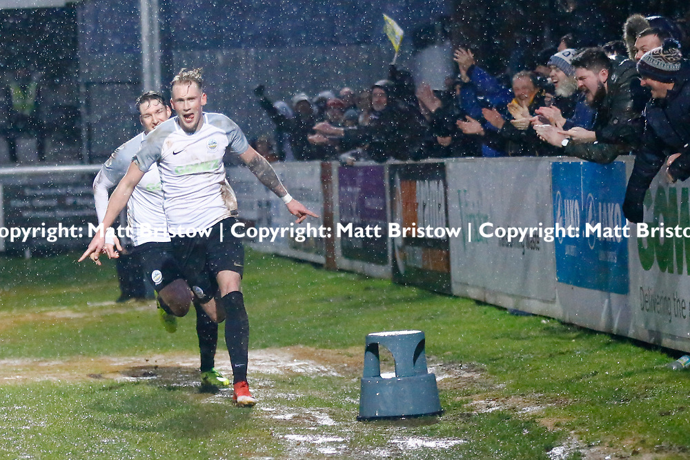 Dover's forward Mitchell Pinnock celebrates after scoring Dovers winning goal during the Vanorama National League match between Dover Athletic and Guiseley at Crabble Stadium, London, England on 27 January 2018. Photo by Matt Bristow.