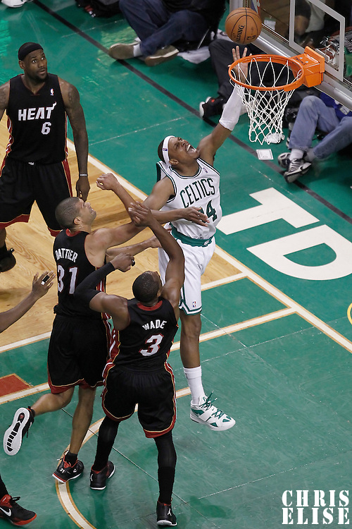 01 June 2012: Boston Celtics small forward Paul Pierce (34) is fouled as he goes for the layup during the second half of Game 3 of the Eastern Conference Finals playoff series, Heat vs Celtics, at the TD Banknorth Garden, Boston, Massachusetts, USA.