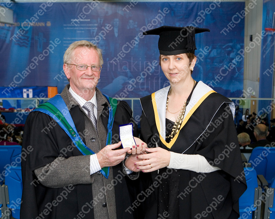 21/10/10  ***PICTURES with COMPLIMENTS*****<br /> Mr Liam Irwin with Grainne Higgins, Clonlara, Clare, winner of College Medal for History after graduating from Mary Immaculate College, Limerick. Pic Sean Curtin Press 22.