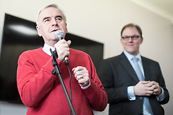 © Licensed to London News Pictures . 19/02/2017. Stoke-on-Trent, UK. Labour Shadow Chancellor JOHN MCDONNELL joins GARETH SNELL (r) - the party's candidate for the seat of Stoke-on-Trent Central - at the Labour Party campaign base on Garth Street in Stoke , with party campaigners , in the final week of the by-election campaign . Photo credit: Joel Goodman/LNP