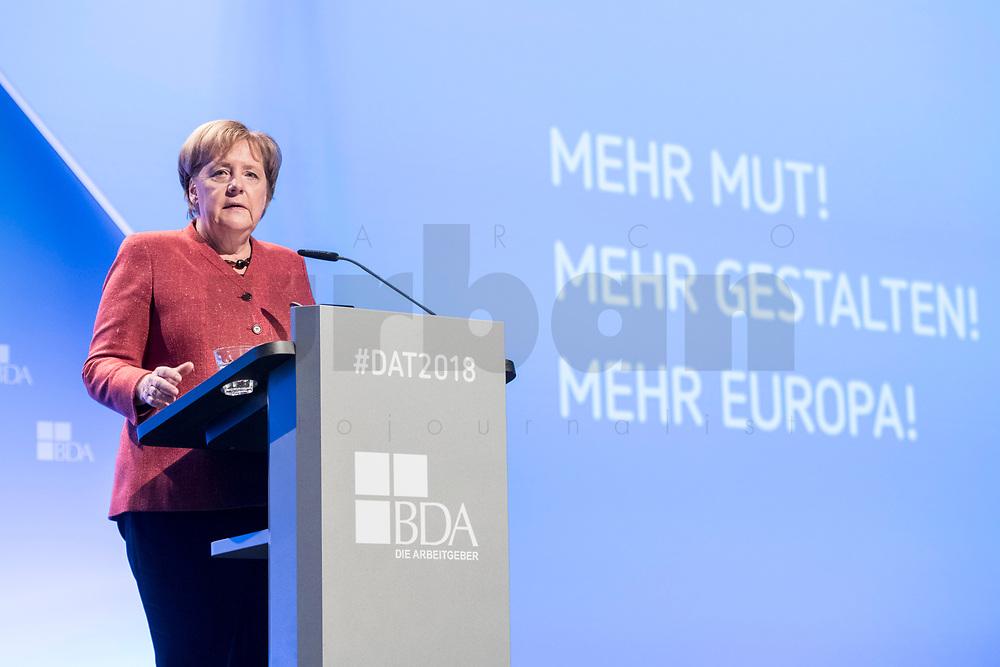 23 NOV 2018, BERLIN/GERMANY:<br /> Angela Merkel, CDU, Bundeskanzlerin, haelt eine Rede, Deutscher Arbeitgebertag 2018, Vereinigung Deutscher Arbeitgeber, BDA, Estrell Convention Center<br /> IMAGE: 20181123-01-231