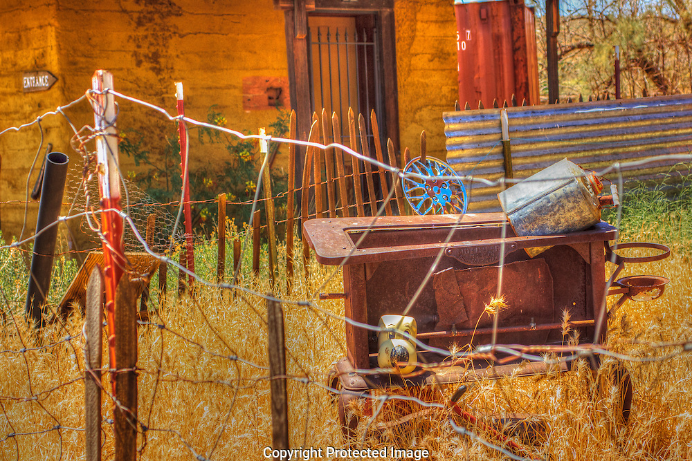 Yard Art can be found throughout the old mining town of Chloride, Arizona