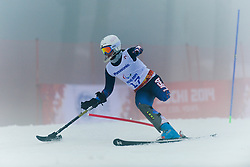 JALLEN Stephanie competing in the Alpine Skiing Super Combined Slalom at the 2014 Sochi Winter Paralympic Games, Russia