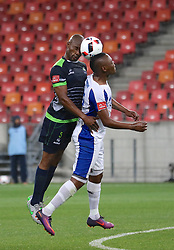 Siphiwe Mnguni of Platinum Stars and Lerato Manzine of Chippa United vye for the ball during the 2016 Premier Soccer League match between Chippa United and Platinum Stars held at the Nelson Mandela Bay Stadium in Port Elizabeth, South Africa on the 28th October 2016<br />