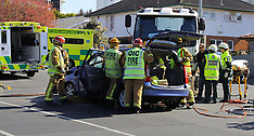 Auckland-Elderly woman trapped after crash with truck, Remuera