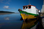Colorful boat on Ilha do Mel off the coast of Paranagua, Brazil, South America