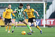 George Francomb of AFC Wimbledon tries a long range effort during the Sky Bet League 2 match between Newport County and AFC Wimbledon at Rodney Parade, Newport, Wales on 19 December 2015. Photo by Stuart Butcher.