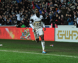 Swansea City's Nathan Dyer celebrates his goal. - Photo mandatory by-line: Alex James/JMP - Tel: Mobile: 07966 386802 08/02/2014 - SPORT - FOOTBALL - Swansea - Liberty Stadium - Swansea City v Cardiff City - Barclays Premier League