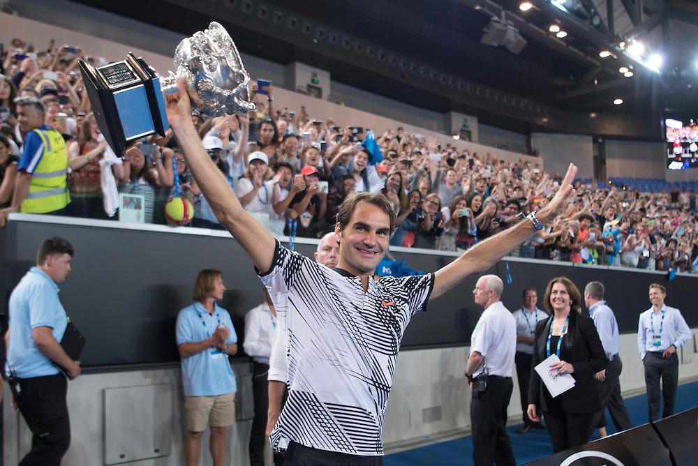 Roger Federer of Switzerland at Margaret Court Arena after the men's final on day fourteen of the 2017 Australian Open at Melbourne Park on January 29, 2017 in Melbourne, Australia.<br /> (Ben Solomon/Tennis Australia)