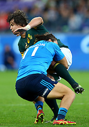 November 19, 2016 - Rome, Italy - Francois Venter (S) tackled by Giovanbattista Venditti (I)  during the international match between Italy v South Africa at Stadio Olimpico on November 19, 2016 in Rome, Italy. (Credit Image: © Matteo Ciambelli/NurPhoto via ZUMA Press)