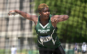 May 24, 2019; Sacramento, CA, USA; Shadae Lawrence of Colorado State places third in the women's discus at 188-8 (57.50m)  during the NCAA West Preliminary at Hornet Stadium.