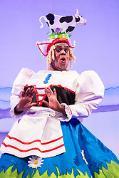 "Hackney Empire Theatre, London, November 25th 2015.  Hackney Empire presents Jack and the Beanstalk as their 2015 Christmas pantomime. London's most famous panto will star Hackney Empire's own Olivier nominated dame Clive Rowe as Dame Daisy Trott, Olivier Award-nominated Bodyguard actress Debbie Kurup as Jack and Hackney Panto favourite Kat B as Snowman. Written and directed by Creative Director Susie McKenna, with music by Steven Edis. PICTURED: Clive Rowe - ""Dame Daisy Trott""."