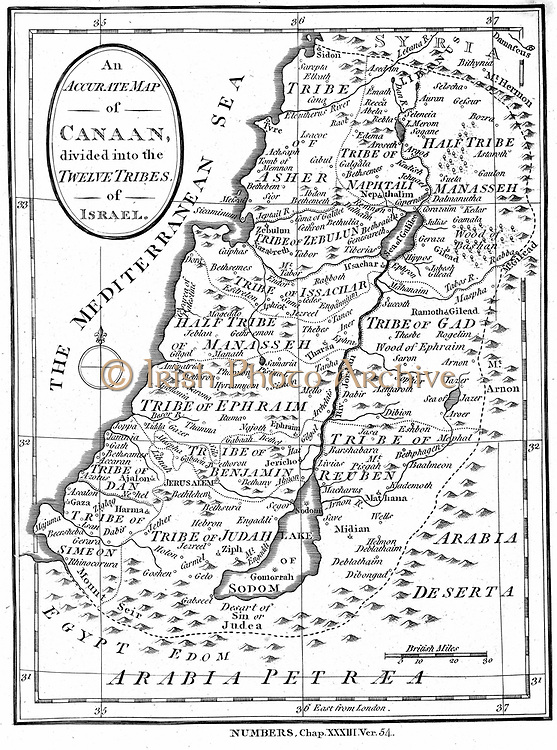 Map of Canaan divided into the territories of the Twelve Tribes of Israel as described in the 'Bible', Numbers 23:54. Engraving c1830.