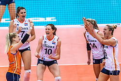 16-10-2018 JPN: World Championship Volleyball Women day 17, Nagoya<br /> Netherlands - China 1-3 / Kirsten Knip #1 of Netherlands, Juliet Lohuis #7 of Netherlands, Lonneke Sloetjes #10 of Netherlands14, Maret Balkestein-Grothues #6 of Netherlands