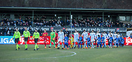 FODBOLD: De to hold går på banen før kampen i ALKA Superligaen mellem FC Helsingør og FC Nordsjælland den 18. marts 2018 på Helsingør Stadion. Foto: Claus Birch.