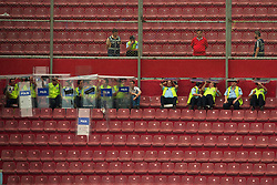 TRABZON, TURKEY - Thursday, August 26, 2010: Turkish riot police shelter from the rain under their shields before the UEFA Europa League Play-Off 2nd Leg match between Trabzonspor and Liverpool at the Huseyin Avni Aker Stadium. (Pic by: David Rawcliffe/Propaganda)