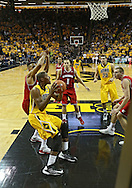 January 19 2013: Iowa Hawkeyes forward Melsahn Basabe (1) looks to put up a shot under the basket during the second half of the NCAA basketball game between the Wisconsin Badgers and the Iowa Hawkeyes at Carver-Hawkeye Arena in Iowa City, Iowa on Sautrday January 19 2013. Iowa defeated Wisconsin 70-66.
