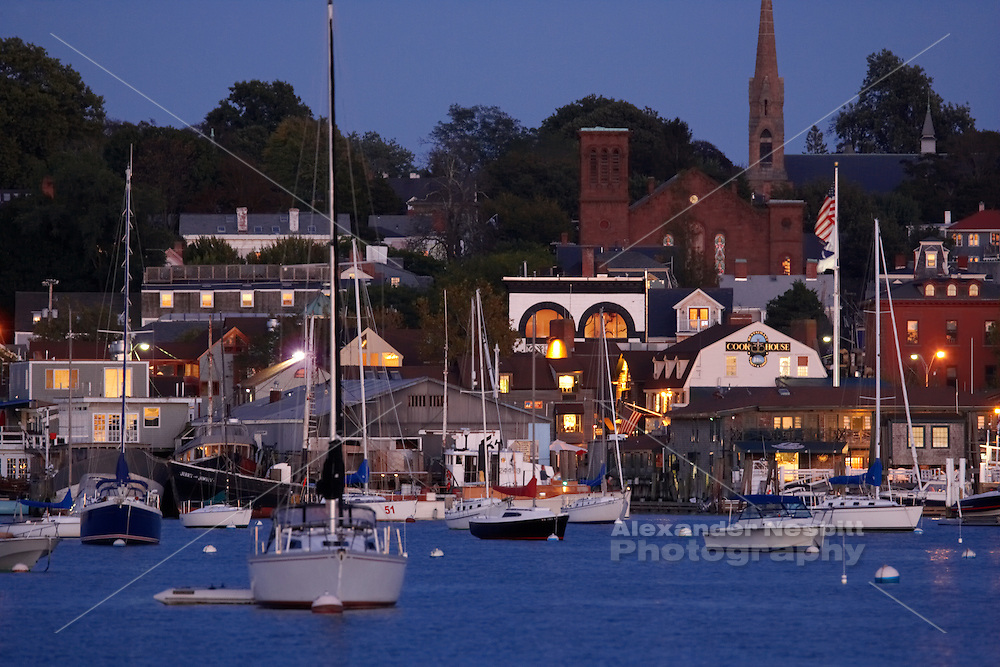 USA, Newport, RI - Newport view across harbor to Bowen's and Bannister's wharves at dusk..