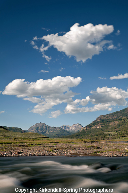 WY00536-00...WYOMING - Soda Butte Creek in Yellowstone National Park with the Absaroka Range in the distance.