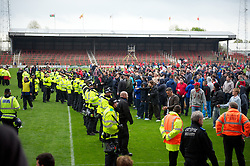 WREXHAM, WALES - Monday, May 7, 2012: Police and supporters clash on the pitch after the Football Conference Premier Division Promotion Play-Off 2nd Leg between Wrexham and Luton Town at the Racecourse Ground. (Pic by David Rawcliffe/Propaganda)