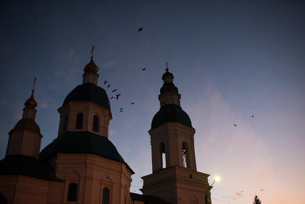 Les d&ocirc;mes de l'&eacute;glise de St. Nicolas, le 7 decembre 2015 &agrave; Hlukhiv, Ukraine<br /> <br /> The domes of the Church of St. Nicholas are seen on December 7, 2015 in Hlukhiv, Ukraine.