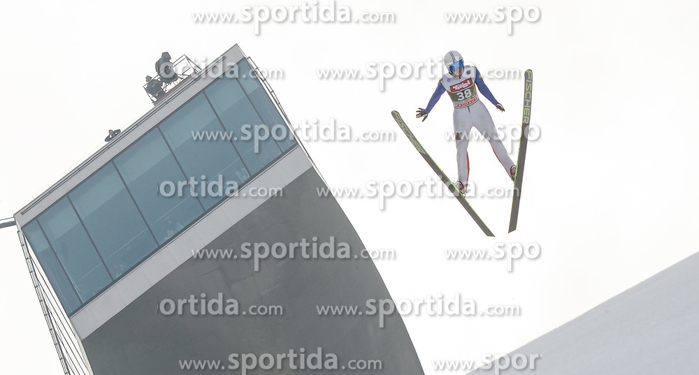 03.01.2015, Bergisel Schanze, Innsbruck, AUT, FIS Ski Sprung Weltcup, 63. Vierschanzentournee, Innsbruck, Training, im Bild Mikhail Maksimochkin (RUS) // Mikhail Maksimochkin of Russia soars through the air during a training session for the 63rd Four Hills Tournament of FIS Ski Jumping World Cup at the Bergisel Schanze in Innsbruck, Austria on 2015/01/03. EXPA Pictures © 2015, PhotoCredit: EXPA/ Jakob Gruber