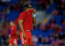 CARDIFF, WALES - Thursday, September 6, 2018: Wales' captain Ashley Williams during the pre-match warm-up before the UEFA Nations League Group Stage League B Group 4 match between Wales and Republic of Ireland at the Cardiff City Stadium. (Pic by David Rawcliffe/Propaganda)