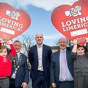 25.01.2018.         <br /> The hugely successful Team Limerick Clean-up (TLC) is set to take place for the fourth consecutive year this Good Friday 30th March 2018. <br /> <br /> Pictured at  The Red Door Gallery, Newcastle West to launch the Team Limerick Clean-up4 and &lsquo;Loving Limerick&rsquo; competition were pupils, Ella Byrne, 5 and Amy Lane, 5, from Scoil Iosaf Girls' NS with Mayor of Limerick City and County, Cllr. Stephen Geary, Paul O'Connell and Dr. Pat Daly, Limerick City and County Council.<br /> <br /> Registration is now open on www.teamlimerickcleanup.ie. To celebrate TLC4, Primary Schools from across Limerick have been invited to take part in an exciting Valentines competition. Paul O&rsquo;Connell was joined today by the Mayor of Limerick, Stephen Keary and pupils from Scoil Iosaf Girls' NS at The Red Door Gallery, Newcastle West to launch the Team Limerick Clean-up4 and &lsquo;Loving Limerick&rsquo; competition. Picture: Alan Place