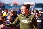 Luke Ayling of Leeds United (2) arrives at the ground before the EFL Sky Bet Championship match between Leeds United and Bolton Wanderers at Elland Road, Leeds, England on 23 February 2019.