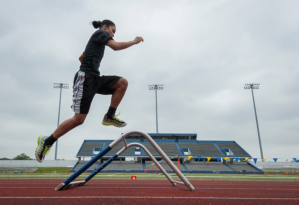 Houston ISD Police recruits participate in an agility test at Barnett Stadium, April 22, 2014.
