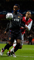 Photo: Ed Godden.<br /> Arsenal v CSKA Moscow. UEFA Champions League, Group G. 01/11/2006. CSKA Moscow's Vagner Love (L) is challenged by Gael Glichy.