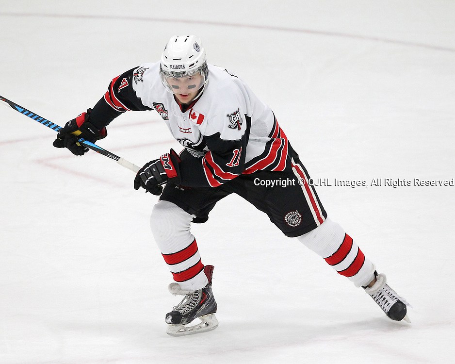 GEORGETOWN, ON  - APR 18,  2017: Ontario Junior Hockey League, Championship Series. Georgetown Raiders vs the Trenton Golden Hawks in Game 3 of the Buckland Cup Final. Keegan Blasby #11 of the Georgetown Raiders follows the play during the first period.<br /> (Photo by Tim Bates / OJHL Images)