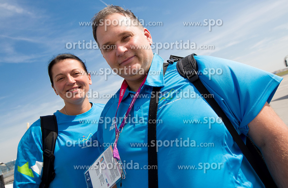 Regina Trbuc Roudi and Simon Bozic of Team Slovenia at Airport in Frankfurt during way back to Airport Joze Pucnik after the London 2012 Paralympic Games on September 10, 2012, in Frankfurt, Germany. (Photo by Vid Ponikvar / Sportida.com)