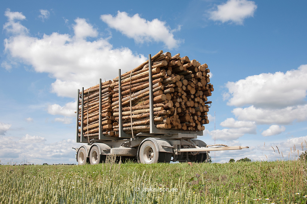 Trailer full of timber by field