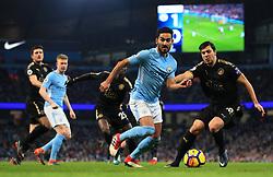 Ilkay Gundogan of Manchester City takes on Aleksandar Dragovic of Leicester City - Mandatory by-line: Matt McNulty/JMP - 10/02/2018 - FOOTBALL - Etihad Stadium - Manchester, England - Manchester City v Leicester City - Premier League