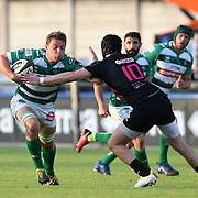 Treviso 28/04/2018 Stadio Monigo<br /> Guinness PRO14 Benetton vs Zebre<br /> <br /> Marco Barbini placcato da Carlo Canna