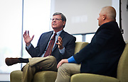 "Political analyst Charlie Sykes, left, speaks on the panel ""How should the Right in Wisconsin navigate the Trump era?"" at the Cap Times 2017 Idea Fest, Sunday, September 17, 2017"