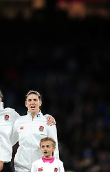 Sarah Hunter of England sings the national anthem prior to the match - Mandatory byline: Patrick Khachfe/JMP - 07966 386802 - 26/11/2016 - RUGBY UNION - Twickenham Stadium - London, England - England Women v Canada Women - Old Mutual Wealth Series.
