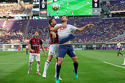 July 31, 2018 - Minneapolis, Minnesota, U.S - Tottenham's FERNANDO LLORENTE (18) and Milan defender MATEO MUSACCHIO rise to head a ball inside the Milan box. (Credit Image: © Keith R. Crowley via ZUMA Wire)